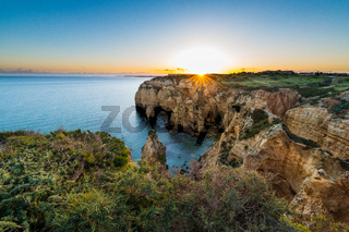 Sunset over the cliffs and beaches