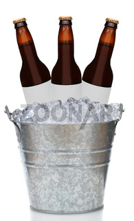 Three Brown Beer Bottles in Ice Bucket with blank labels isolated on white.