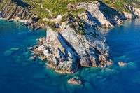 Agios Ioannis Kastri of Skopelos from drone, Greece