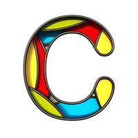 Multi color layers font Letter C 3D