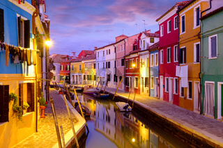 Night on the Burano island