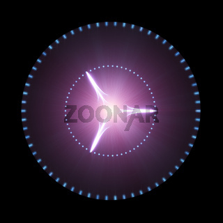 Glowing Purple Disk With Light Beams Isolated On Black Background. Sci-Fi, Futuristic And Outer Space Concept