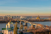 Cityscape and the bridge across river. Nizhny Novgorod, Russia