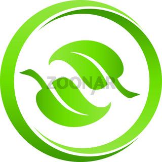 Blätter, Bio, Ökologie, Vegan, Logo