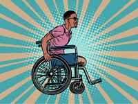 legless african man disabled veteran in a wheelchair