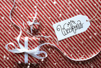 Three Gifts, Wrapping Paper, Label Happy Weekend, Snowflakes