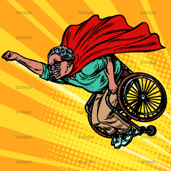 african man retired superhero disabled in a wheelchair. Health and longevity of older people