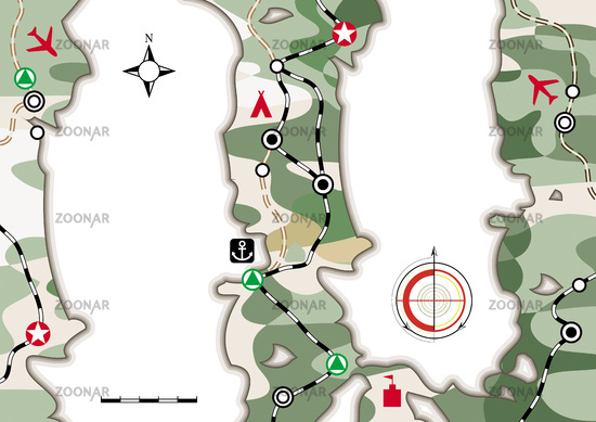 Military Navigation Map. Cartographic infographic booklet with camouflage pattern. Card layout, cartoon background.