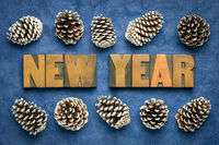 New Year greeting card in letterpress wood type