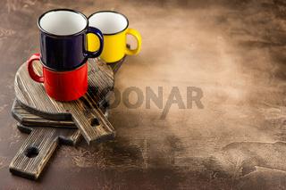 Colorful ceramic mugs