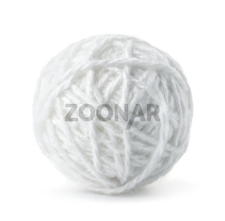 Ball of white wool yarn