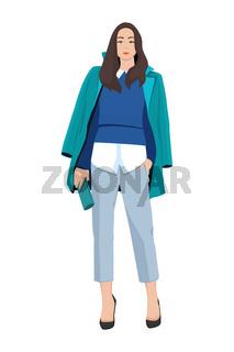Women dressed in stylish trendy clothes - female fashion illustration