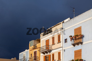 some houses at bad weather Lipari Sicily Italy