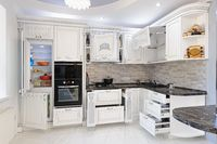 Luxury modern white colored kitchen interior