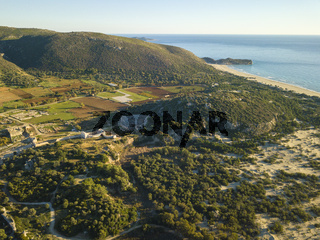 Aerial Drone View Theater Ruins Beach Coast Patara