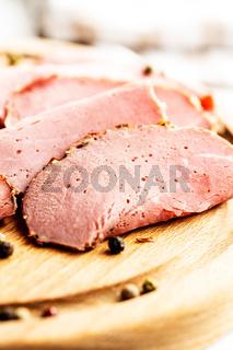 Sliced roast beef. Tasty fresh meat.
