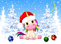 Unicorn baby in the winter forest on Christmas Eve