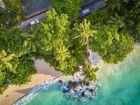 Beach at Seychelles aerial top view