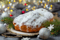 Stollen.Traditional Christmas cake.