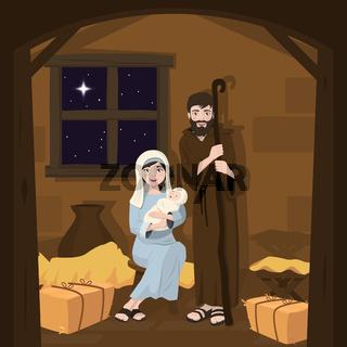Holy family. Christmas nativity scene. Birth of Christ