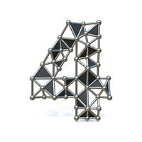 Wire low poly black metal Number 4 FOUR 3D