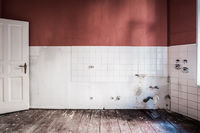 empty kitchen room in old building , empty before restoration -