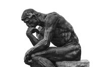 Thinker Sculpture Isolated Photo