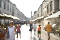 Blurred street of old town with walking people in Dubrovnik in Croatia