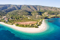 The beach Agios Dimitrios of Alonissos from drone, Greece