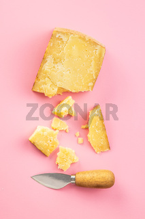 Crushed block of cheese.