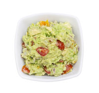 Bowl with Guacamole isolated on white background