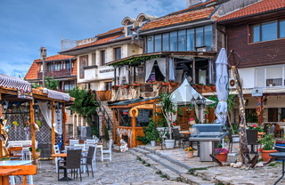 Restaurants by the sea in Nessebar, Bulgaria