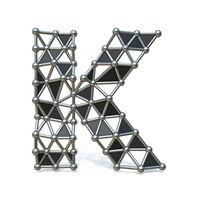 Wire low poly black metal Font Letter K 3D