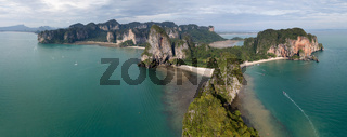 Aerial panorama Pranang beach, Thailand