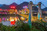 Wulingyuan, China - May 27, 2018: Town Wulingyuan at sunset in Tianzi Avatar mountains nature park