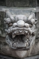 Lion head sculpture figure in the Wenshu Monastery