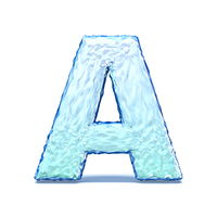 Ice crystal font letter A 3D