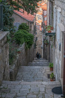Narrow downhill passage in Dubrovnik Old town
