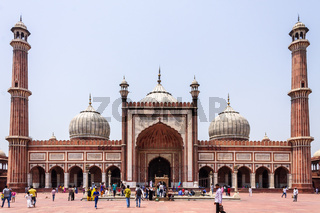 Outside Panorama of Masjid e Jahan Numa, commonly known as Jama Masjid, largest Mosque Old Delhi, India, Asia.