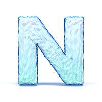 Ice crystal font letter N 3D