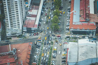 City traffic jam aerial - many cars on street during rush hour