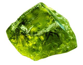 Emerald gem stone mineral. Green gemstone of precious rock isolated on white background. Transparent shiny raw brilliant gem