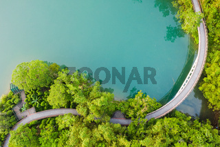 landscape of path over water in aerial view