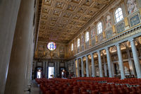 Panoramic view of interior of Basilica di Santa Maria Maggiore