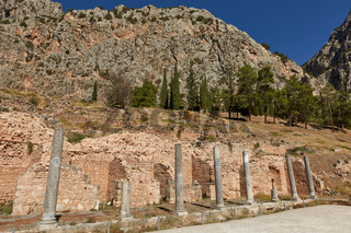 The Temple of Apollo at Delphi, Greece in a summer day.