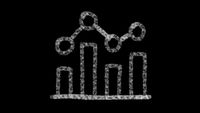 chart icon drawn with drawing style on chalkboard, animated footage ideal for compositing and motiongrafics