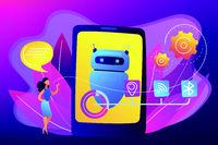 Chatbot virtual assistant via messaging concept vector illustration.