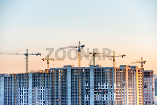 Construction site with buildind cranes
