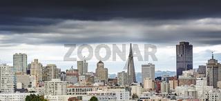 San Francisco city skyline on a cloudy day