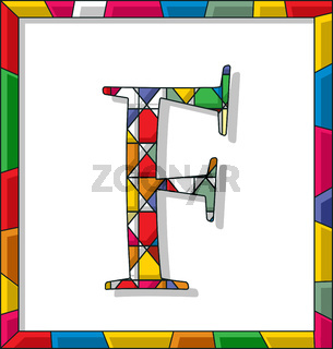 Letter F in stained glass
